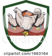 Poster, Art Print Of Chickens And Barn