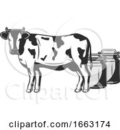 Dairy Cow And Milk Containers