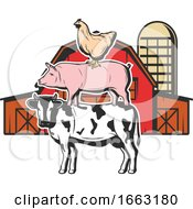 Poster, Art Print Of Chicken Pig And Cow