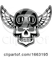 Black And White Skull Wearing A Pilot Hat