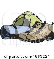 Poster, Art Print Of Camping Tent Mat And Boots