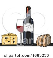 Wine Bottle Glass Bread And Cheese