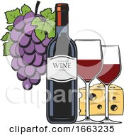 Wine Bottle Glass Grapes And Cheese
