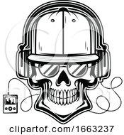 Black And White Skull Wearing Headphones