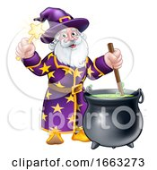 Wizard With Wand And Cauldron Cartoon