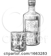 08/21/2019 - Drink Bottle And Glass In Vintage Woodcut Style