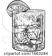08/21/2019 - Cocktail Drink In Glass With Ice And Lemon Or Lime