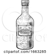 08/21/2019 - Whiskey Or Whisky Glass Bottle Woodcut Etching
