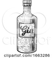 08/21/2019 - Gin Glass Bottle Vintage Woodcut Etching Style