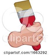 Poster, Art Print Of Painter Decorator Hand Fist Holding Paintbrush