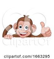 08/18/2019 - Monkey Cartoon Animal Behind Sign Giving Thumbs Up