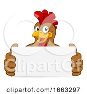Chicken Rooster Cockerel Holding Sign Cartoon