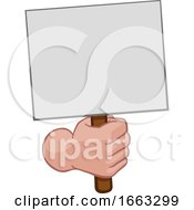 Poster, Art Print Of Hand Fist Holding A Blank Sign Or Placard Cartoon