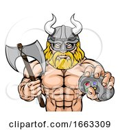 Viking Gamer Gladiator Warrior Controller Mascot