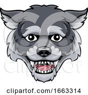 Wolf Mascot Cute Happy Cartoon Character