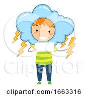 Kid Boy Weather Lightning Illustration