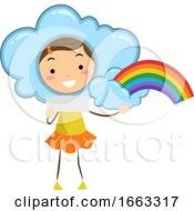 Kid Girl Weather Rainbow Illustration