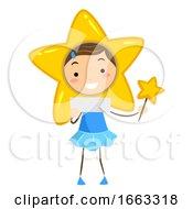 Kid Girl Weather Stars Illustration