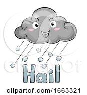 Mascot Cloud Hail Storm Illustration