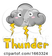 Mascot Cloud Thunder Storm Illustration