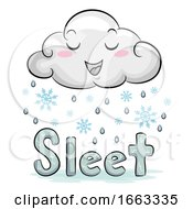 Mascot Cloud Weather Sleet Illustration