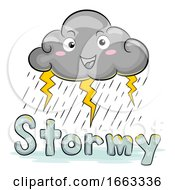 Mascot Cloud Weather Stormy Illustration