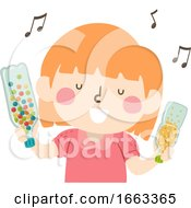 Kid Girl Sensory Music Shaker Illustration