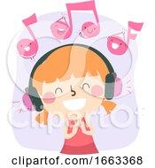 Poster, Art Print Of Kid Girl Listen Music Respond Clap Illustration