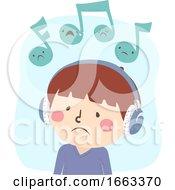 Kid Boy Listen Music Sad Illustration