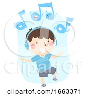 Kid Boy Listen Music Respond Dance Illustration