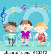 Kids Marching Beat Music Illustration