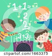 Kids School Rhymes Math Solving Illustration