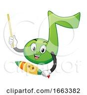 Mascot Music Note Play Guiro Illustration