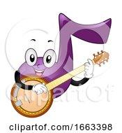 Music Note Mascot Play Banjo Illustration