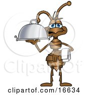 Ant Bug Mascot Cartoon Character With A Napkin On His Arm Serving A Food Platter