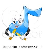 Music Note Mascot Play Claves Illustration