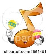Music Note Mascot Play Maracas Illustration
