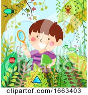 Kid Boy Find Shape Insects Illustration