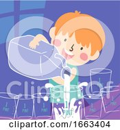 Poster, Art Print Of Kid Boy Pouring Water Illustration