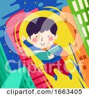 Kid Boy Read Book Super Hero Illustration