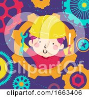 Kid Boy Tools Gears Illustration