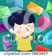 Kid Boy Virtual Shapes 3D Illustration