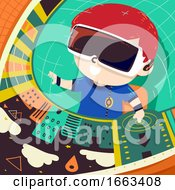Kid Boy Control Navigate Illustration