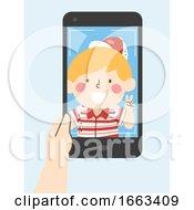 Kid Boy Selfie Phone Illustration