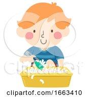 Kid Boy Sensory Tongs Paper Scrap Illustration