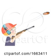 Kid Boy Clay Pigeon Shooting Illustration