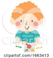 Kid Boy Texture Rubbing Illustration