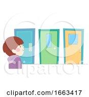Kid Boy Choose Door Illustration