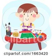Kid Boy Exploring Color Texture Illustration