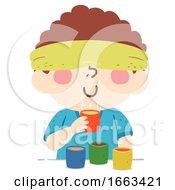 Kid Boy Guess Smell Illustration